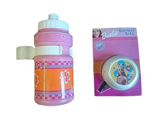 Barbie GIRLIE BIKE CYCLE BELL AND DRINKS BOTTLE WITH STEM FITTING HOLDER PINK IDEAL PRESENT