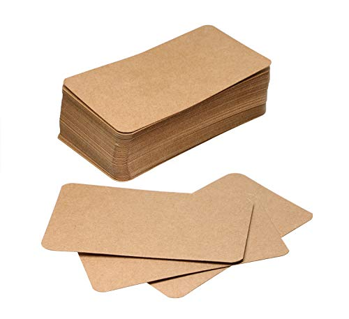 Tupalizy Small Blank Paper Message Note Business Cards Mini Greeting Place Name Vocabulary Word Flash Cards Graffiti Scrapbookings DIY Gift Tags Label, Bronze, 100PCS