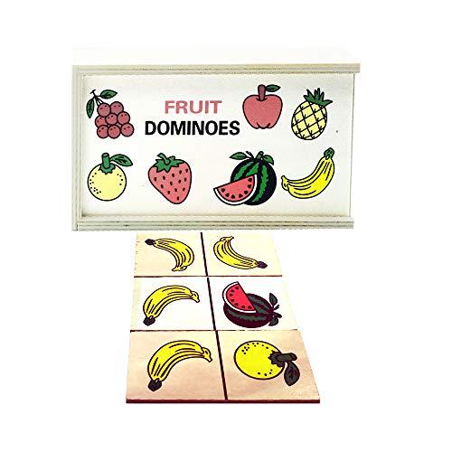 EUROXANTY Dominó de Madera | Dominó con Diseño de Frutas | Juguete Educativo para Niños y Niñas | Infantil y Educativo