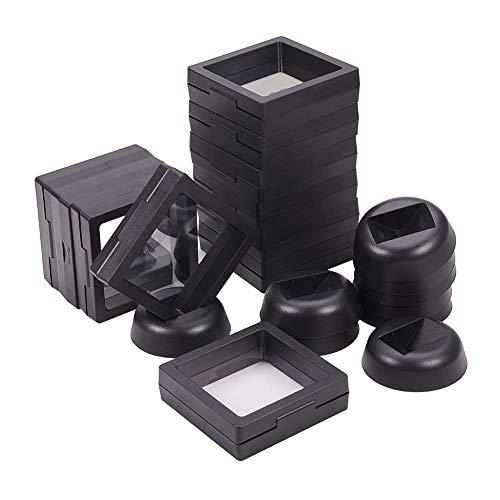 PandaHall Elite Display Stand - Set mit 12 3D-Displayrahmen mit schwimmendem Rahmen und Transprent-Membran für Ring, Anhänger, Armband-Schmuck-Display, Raute, Schwarz, 6,9x6,9x5,4 cm