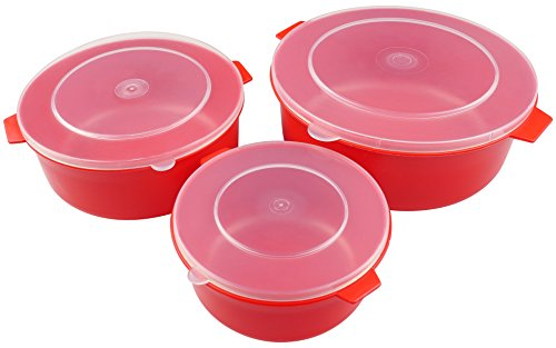 good2heat 4039 Microwave Set of 3 Dishes - Red , 21 x 16.5 x 13 cm