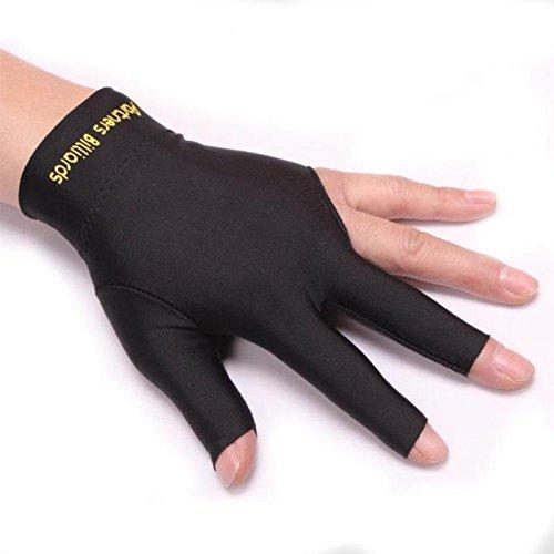 WISEUK Snooker Links Club Zubehör Hand Billard Handschuhe Billard DREI Finger Handschuh (Black)