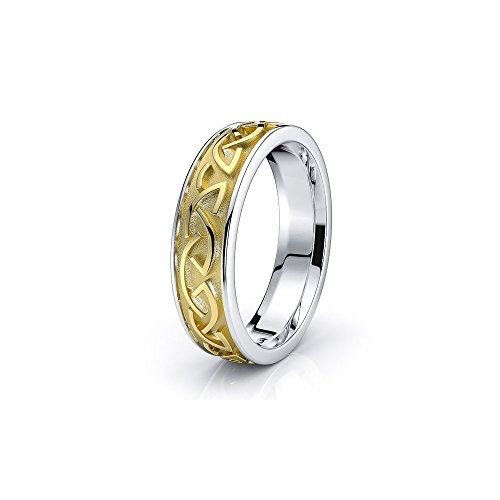 Alganati 10K White Yellow Gold Two Tone Celtic Knot Wedding Ring Size 15.5