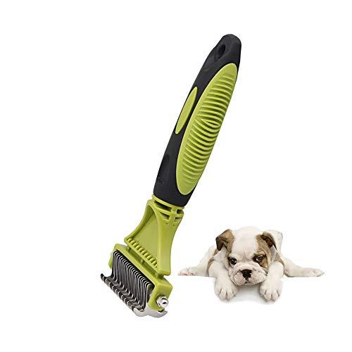 LAJIOJIO Peine desenredante con rastrillo profesional de doble cara para perros y gatos. Herramienta ideal para el cuidado del pelaje para cepillar y eliminar los pelos sueltos, enredos y nudos.