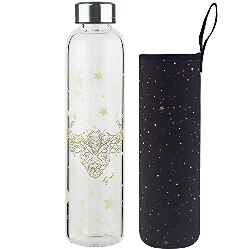 DEARRAY Botella de vidrio borosilicato con estampado de 12 constelaciones 500ml / 1000ml / 1 Litro, Botella de Agua de Cristal con Funda de Neopreno y Elegante Tapa de Acero Inoxidable(Tauro,1000ml)