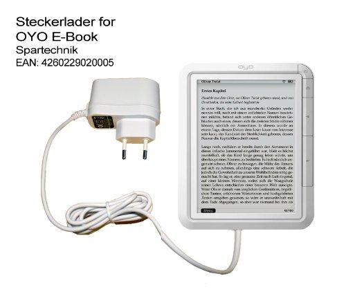 Spartechnik Weisses Netzteil für OYO. 220V Ladegerät für Thalia E-Book Reader OYO OYO II OYO 2 Steckerlader 110-240 Volt. Weiss
