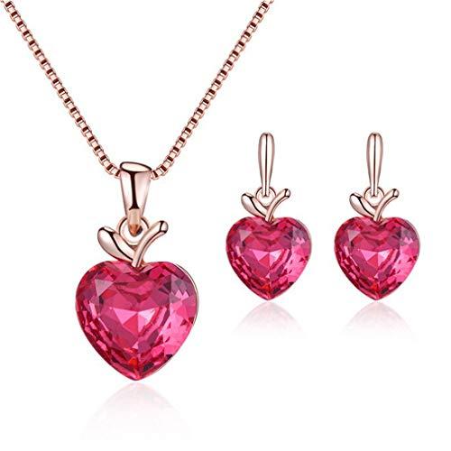 YAZILIND joyería de Las Mujeres Conjunto Amor corazón Colgante Collar y Pendientes de Manzana con Zirconia cúbica Regalo de joyería para el día de la Madre 1