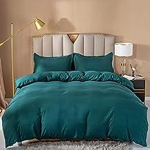 مجموعة أغطية السرير الفاخرة المصنوعة من الهندباء الريفية - جودة الفنادق، مريحة، مسامية وناعمة 3 قطع، الملكة، خضراء