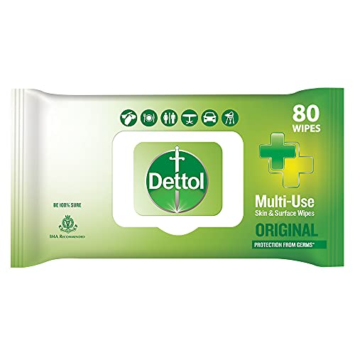 Dettol Disinfectant Skin & Surface Wipes, Original - 80 Count  Safe on Skin  Ideal to Clean Multiple Surfaces  Resealable lock-lid
