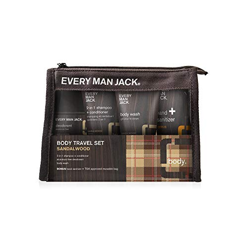 Every Man Jack Travel Body Set - Sandalwood |1 Set Included - TSA Approved | Naturally Derived, Parabens-free, Pthalate-free, Dye-free, and Certified Cruelty Free