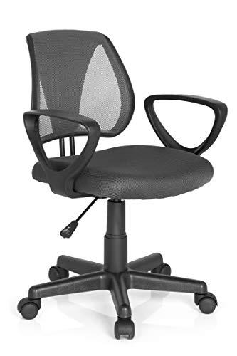 hjh OFFICE 725102 Kinder- und Jugenddrehstuhl KIDDY CD Netzstoff Grau höhenverstellbare Rückenlehne, Stuhl mit Armlehnen