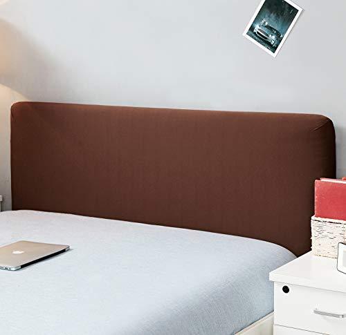 Copertura per testiera per letto, protezione elastica a tinta unita, decorazione per camera da letto, copertura antipolvere, Coffee, King (70.5-78')