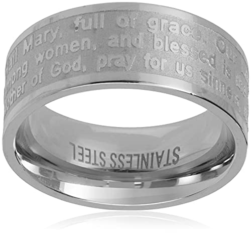 Steeltime Stainless Steel Serenity Prayer Band Ring, Size 7