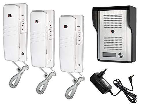 Vetrineinrete - Interfono de pared con cuerno, 3 unidades internas, unidad externa IP44, con botón de función de apertura de puerta para familias, abrir puertas, tienda, oficina, 220 V, RL-3203AAA