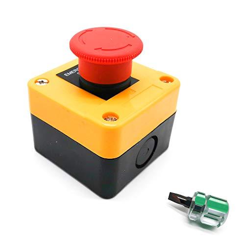Lifreer Interrupteur d'arrêt d'urgence 660 V 10 A avec bouton poussoir pour urgence à la maison, avec tournevis