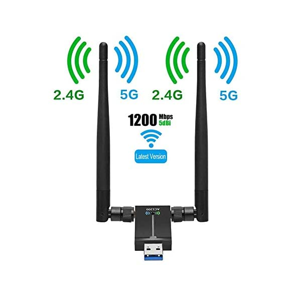 USB WiFi Adapter for PC AC1200Mbps Wireless Network Adapter for Desktop with 2.4GHz/5GHz...
