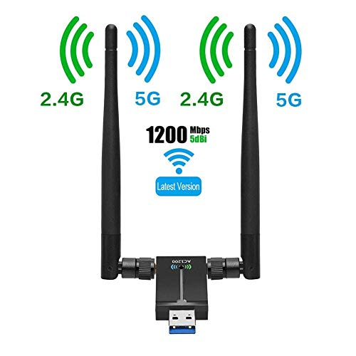 USB WiFi Adapter for PC AC1200Mbps Wireless Network Adapter for Desktop with 2.4GHz/5GHz High Gain Dual Band 5dBi Antenna, Supports Windows 10/8.1/8/7/XP, Mac OS 10.6-10.15,Vista,Linux
