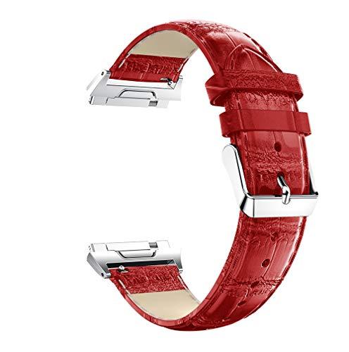 Lux Mary Uhrenarmband kompatibel mit Fitbit Ionic, Lederarmband Ersatz-Watch Armband mit Edelstahl Metall Schließe für Herren Damen (Rot)
