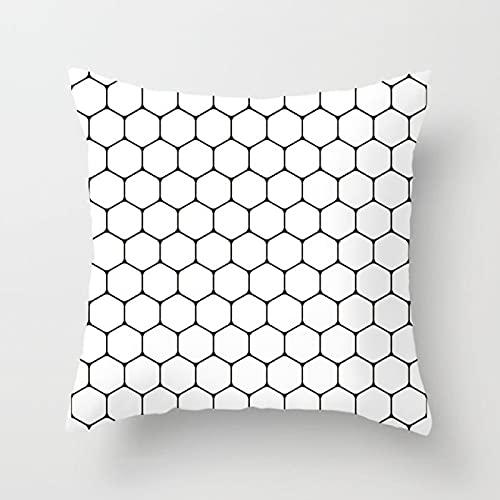 KLily Funda De Cojín Geométrica Funda De Almohada Decorativa Funda Trasera De Sofá Blanco Y Negro para El Hogar Material De Poliéster Lavable