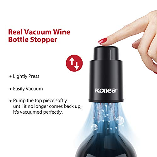Wine Stoppers, Kollea Reusable Wine Bottle Stopper - Vacuum Wine Preserver with Time Scale, Wine Saver Vacuum Pump Keep Wine Fresh Corks, Bes   t Gifts for Wine Lovers(2 PACK) (Black)