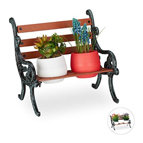 Relaxdays Mini Blumenbank, Gusseisen & Holz, Blumenständer für 2 Blumentöpfe, Ø 7,5 cm, Garten Deko, braun/grau-grün