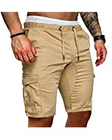VOGUISH 1983 Mens Shorts Summer Elasticated Waist Gym Sports Joggers Pants with Pockets (Khaki, M)