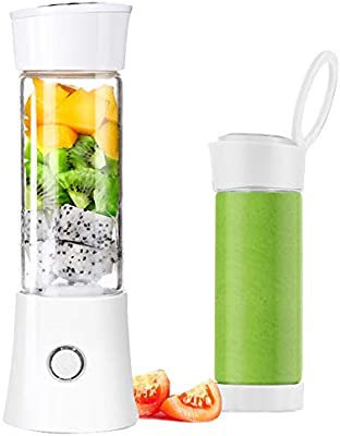 Personal Blender,Lumcrissy Portable Blender Single Serve Smoothie Blenders USB Rechargeable with 3D 6 Blades, 100W 480ML, 4000mAh Rechargeable Battery, Wireless Personal Fruit Blender Cup (White)