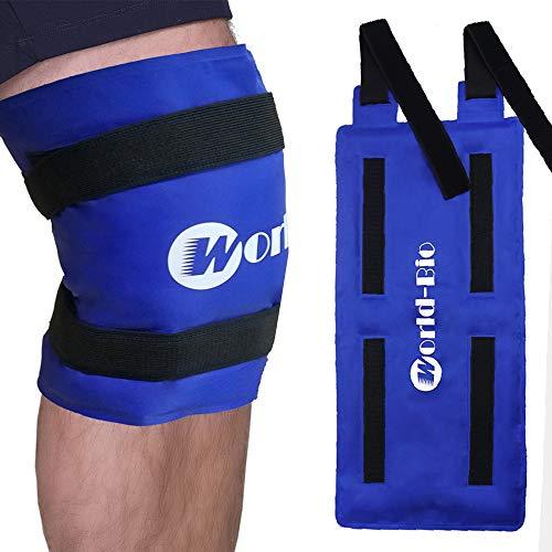 Bolsa de hielo de gel multiuso reutilizable para compresas calientes y frías,Con banda de compresión,Ideal para lesiones de pierna para un rápido alivio del dolor de rodilla,espalda,hombro y tobillo