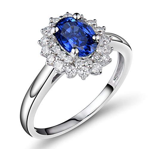 Beydodo Anillos de Compromiso Mujer,Anillo de Mujer de Oro Blanco 18 K Plata Azul Flor Oval Zafiro Azul 0.9ct Diamante 0.45ct Talla 23,5(Circuferencia 63MM)
