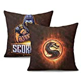 Unicorns Farting Washable Cool Pillow Covers Scorpion-Mortal-Kombat- Pattern Couch Pillow Covers for Car Kid's Room 2PCS