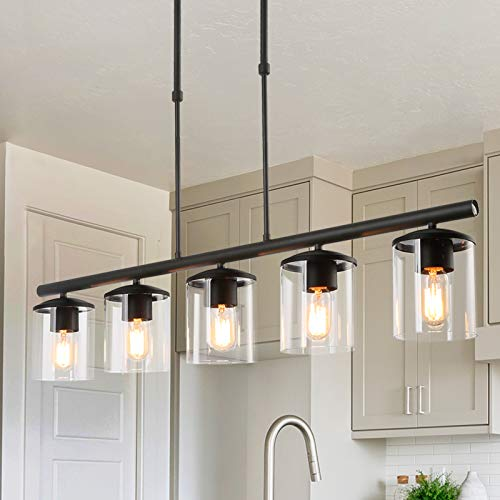 """PHOSANT LIGHTING Black Farmhouse Chandelier, 5-Light Island Lights for Kitchen in Metal Finish with Clear Glass Shades, 37"""" Dining Room Chandelier, Linear Pendant Lighting for Foyer, Bar, Pool Table"""