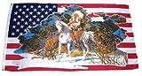Flagge Fahne USA - Indianer auf weißen Pferd 90 x 150 cm FLAGGENMAE®
