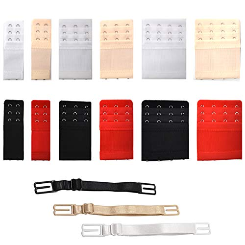 Yueser 24 Stück BH Verlängerung Bra Erweiterung Strap 3 Reihen x 2 Haken/3 Haken/4 Haken mit 6pcs Rutschfester BH-Träger (Schwarz, Weiß, Rot und Hautfarbe)