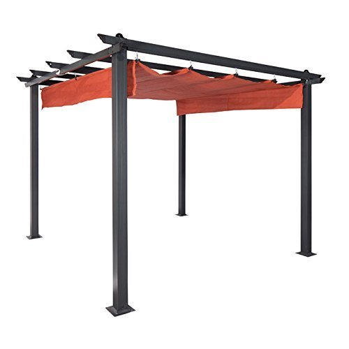 Coolaroo Constantine Pergola, Backyard or Patio Shade Pergola, Light Filtering 90% UV Block, (9' X 9'), Mocha
