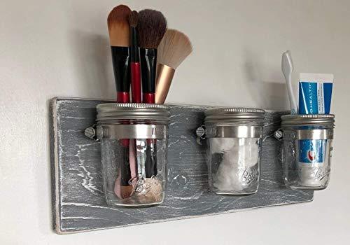Wall Mason Jar Organizer by Out Back Craft Shack: Bathroom/Kitchen; Rustic Gray