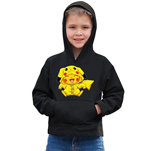 Okiwoki Sweat-Shirt à Capuche Enfant Noir Parodie Pokémon - Pikachu - L'ultime Cosplayer (Sweatshirt de qualité Premium de Taille 5-6 Ans - imprimé en France)