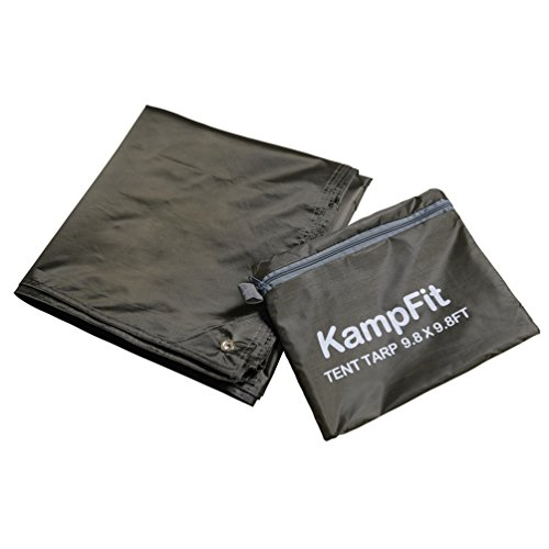 KampFit 9.8'x9.8' Waterproof Tent Tarp with 6 Pcs Ultralight Tent Stakes, Army Green
