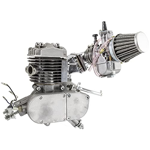 Zeda 80 Performance Bicycle Engine Kit with Dio Reed Valve & OKO Carb - Silver - Motorized Bike (36 Tooth)