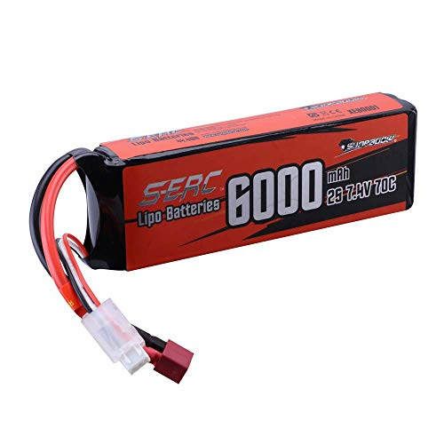 SUNPADOW 2S Lipo Battery 7.4V 6000mAh 70C Soft Pack with Deans T Plug for...