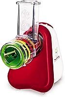 moulinex fresh express dj755g affettatutto grattugia elettrico, 5 funzioni di taglio, 150 w, 1 liter, 1 decibel, plastica, rosso