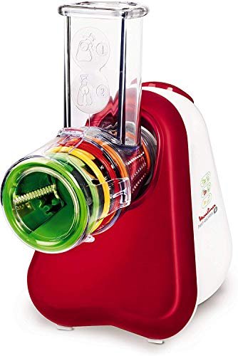 Moulinex Fresh Express Plus - Rallador, 5 funciones, 150 W, 1 L, 1 dB, metal, rojo/blanco