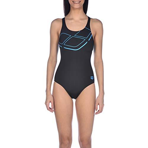Arena Damen Sport Essentials Badeanzug, Black/Turquoise, 38