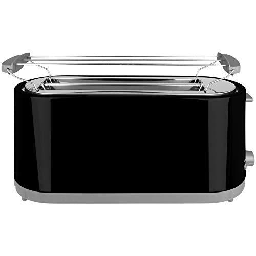 Toaster 750W oder 1400W mit Langschlitz mit Größen- und Farbwahl Sandwichmaker 2 oder 4 Scheiben Langschlitztoaster Sandwich Maker (Schwarz, 4-Scheiben)
