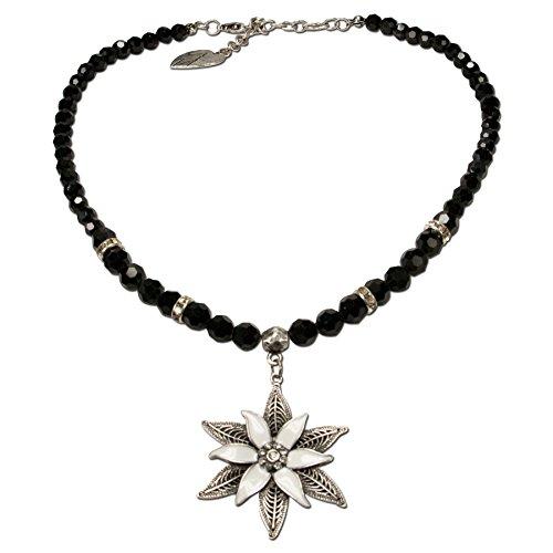 Alpenflüstern Perlen-Trachtenkette Glamour-Edelweiß - Damen-Trachtenschmuck Dirndlkette schwarz DHK144