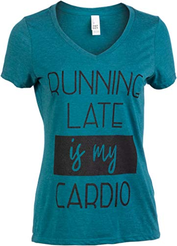 Running Late is My Cardio | Funny Saying Sarcastic Workout Mom Joke Women's Fitness V-Neck T-Shirt-(Vneck,M)