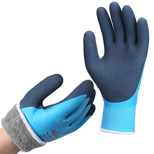 Arbeitshandschuhe Winter Wasserdicht - DS Safety Thermo Warme Winterhandschuh Montagehandschuhe Grip Winterarbeitshandschuhe Arbeit Doppelbeschichte Nylon Isolierte Handschuhe Blue Größe 11 / XXL