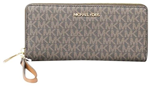 Michael Kors Women Jet Set Travel Large Travel Continental Wristlet Wallet Brown