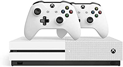 Microsoft Xbox One S 1TB HDD with Two Wireless Controllers (Previous Model) White, Override Mech City Brawl Game Disc and ...