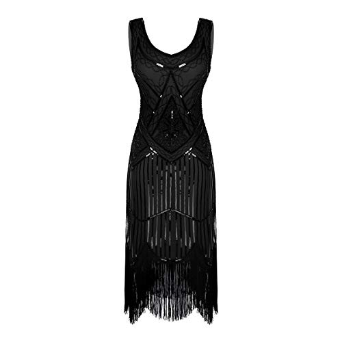 inlzdz Vestidos Vintage de Mujer de los aos 20 Vestido de Danza Latina con Borlas Lentejuelas Disfraz Bailarina Vestido de Fiesta Cctel Ceremonia Negro A Large