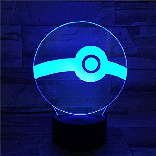 Dalovy Festival 3D Illusion Lampe LED Veilleuse Pokemon Boule Batterie Enfants Cadeau d'anniversaire Boule Lampe de Bureau Meilleur Anniversaire Vacances Cadeaux pour Enfants